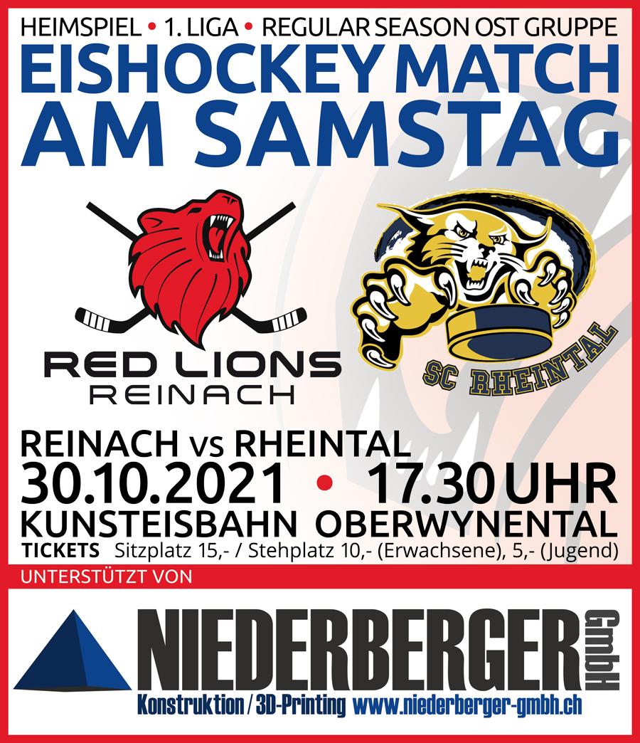 Red Lions Reinach vs SC Rheintal, 30.10.2021, Regio League, 1. Liga, SIHF